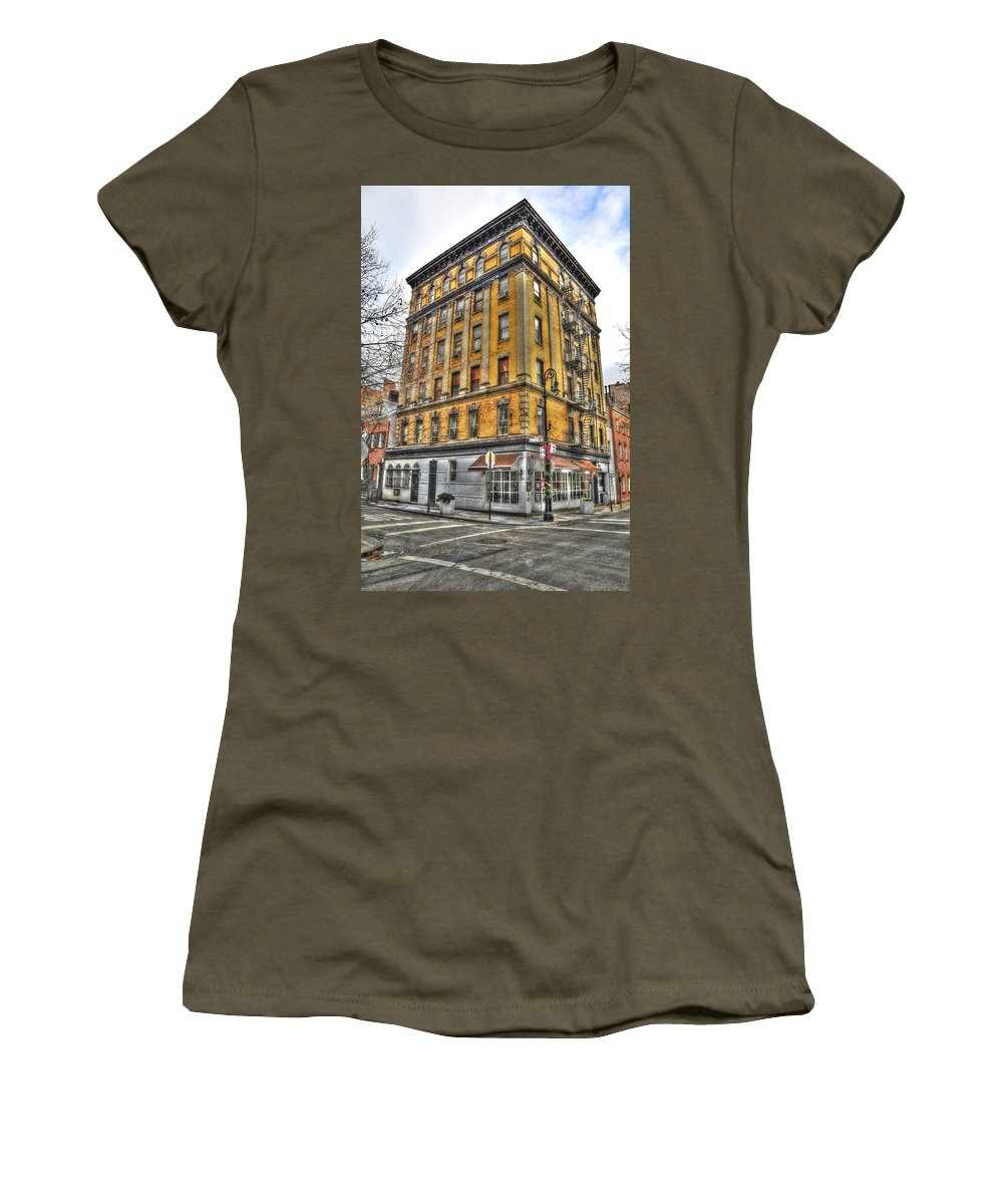 Commerce Street Women's T-Shirt featuring the photograph Commerce Street Architecture by Randy Aveille