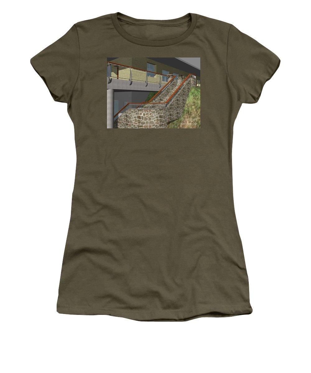 Women's T-Shirt featuring the digital art Concept Railing by Peter Piatt