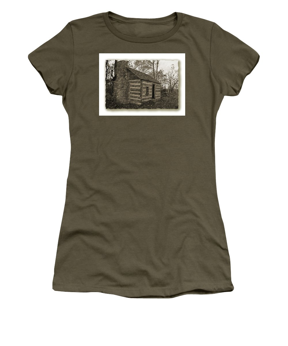 Justjeffaz Women's T-Shirt featuring the photograph Confederate Cabin by Jeff Brunton