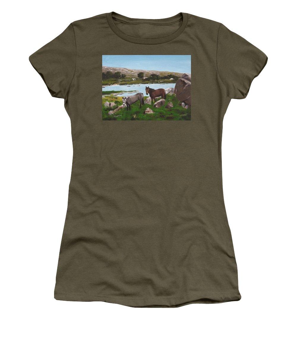 Connemara Women's T-Shirt featuring the painting Connemara Ponies by Tony Gunning