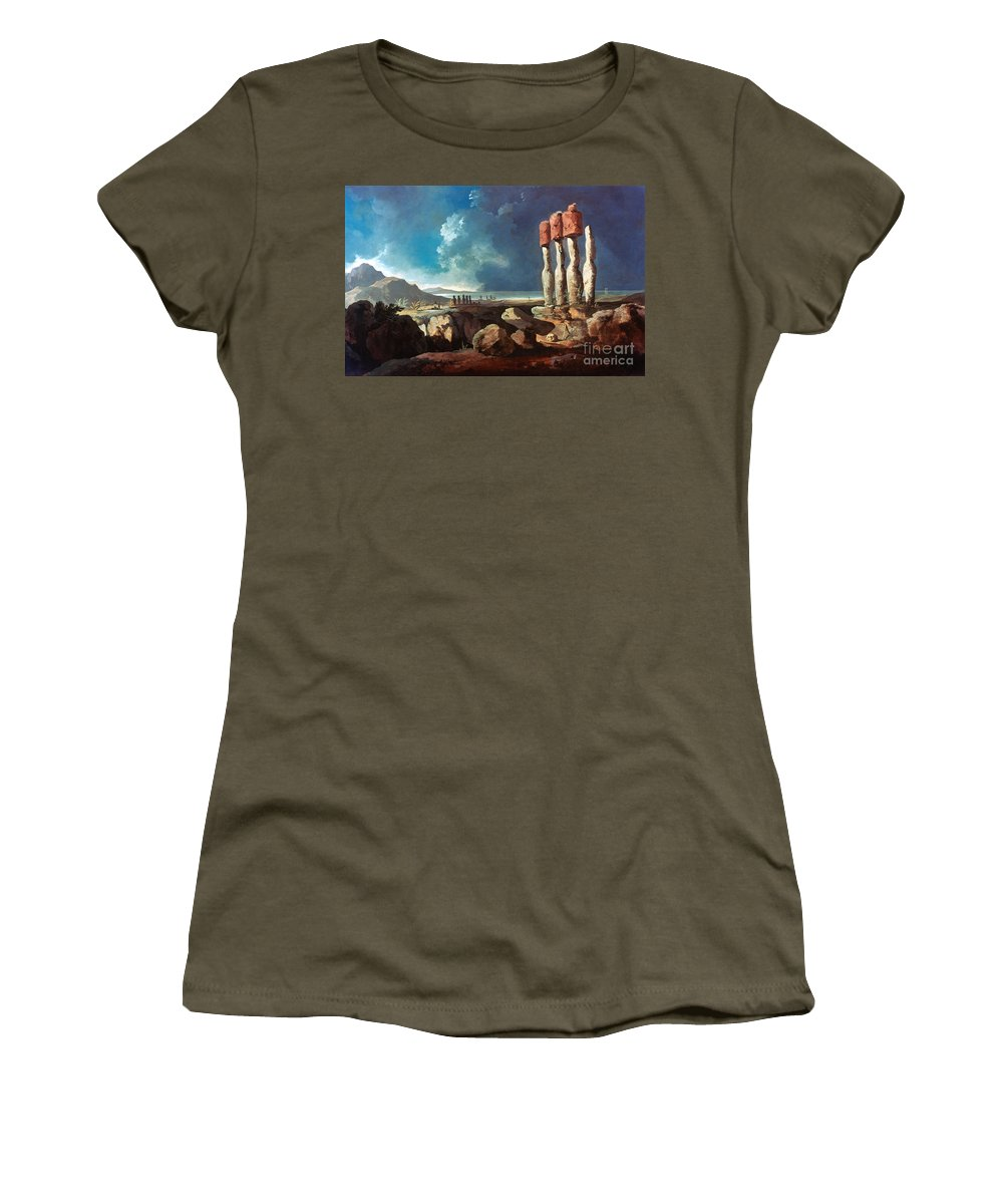 1774 Women's T-Shirt (Athletic Fit) featuring the photograph Cook: Easter Island, 1774 by Granger