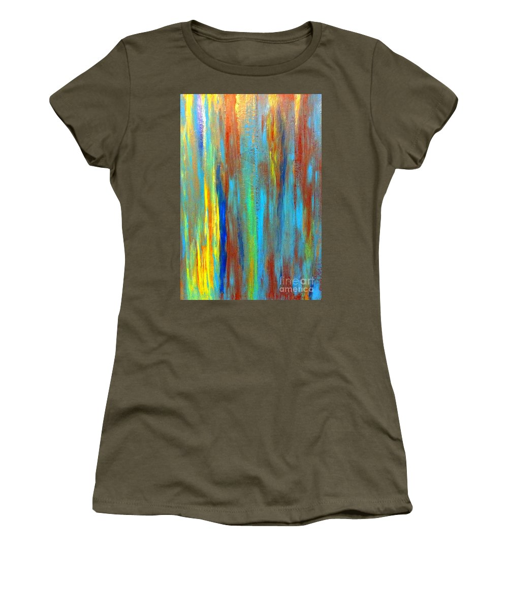 Abstract Women's T-Shirt featuring the painting Cool It by Saundra Myles
