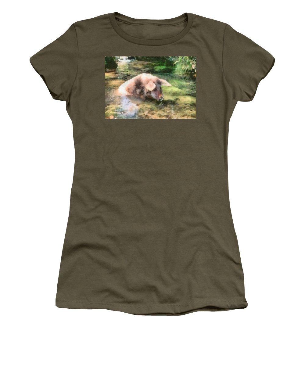 Agricultural Women's T-Shirt featuring the digital art Cool Pig by Roy Pedersen