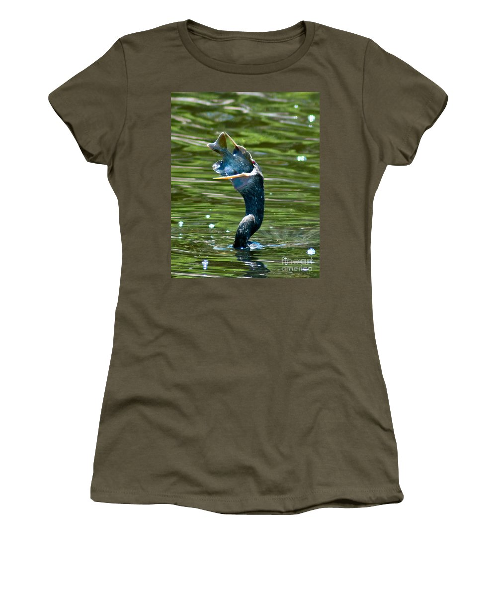 Cormorant Women's T-Shirt featuring the photograph Cormorant With Catch by Stephen Whalen