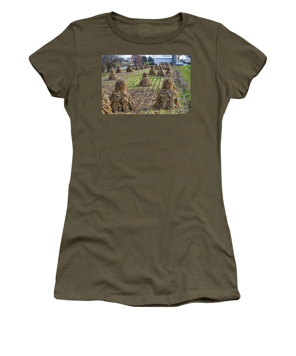 Amish Women's T-Shirt (Athletic Fit) featuring the photograph Corn Shocks Amish Field by David Arment