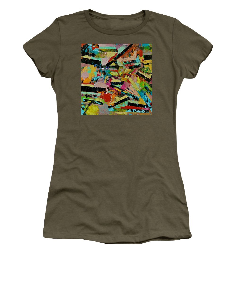 Landscape Women's T-Shirt (Athletic Fit) featuring the painting Cotton Crystal by Allan P Friedlander