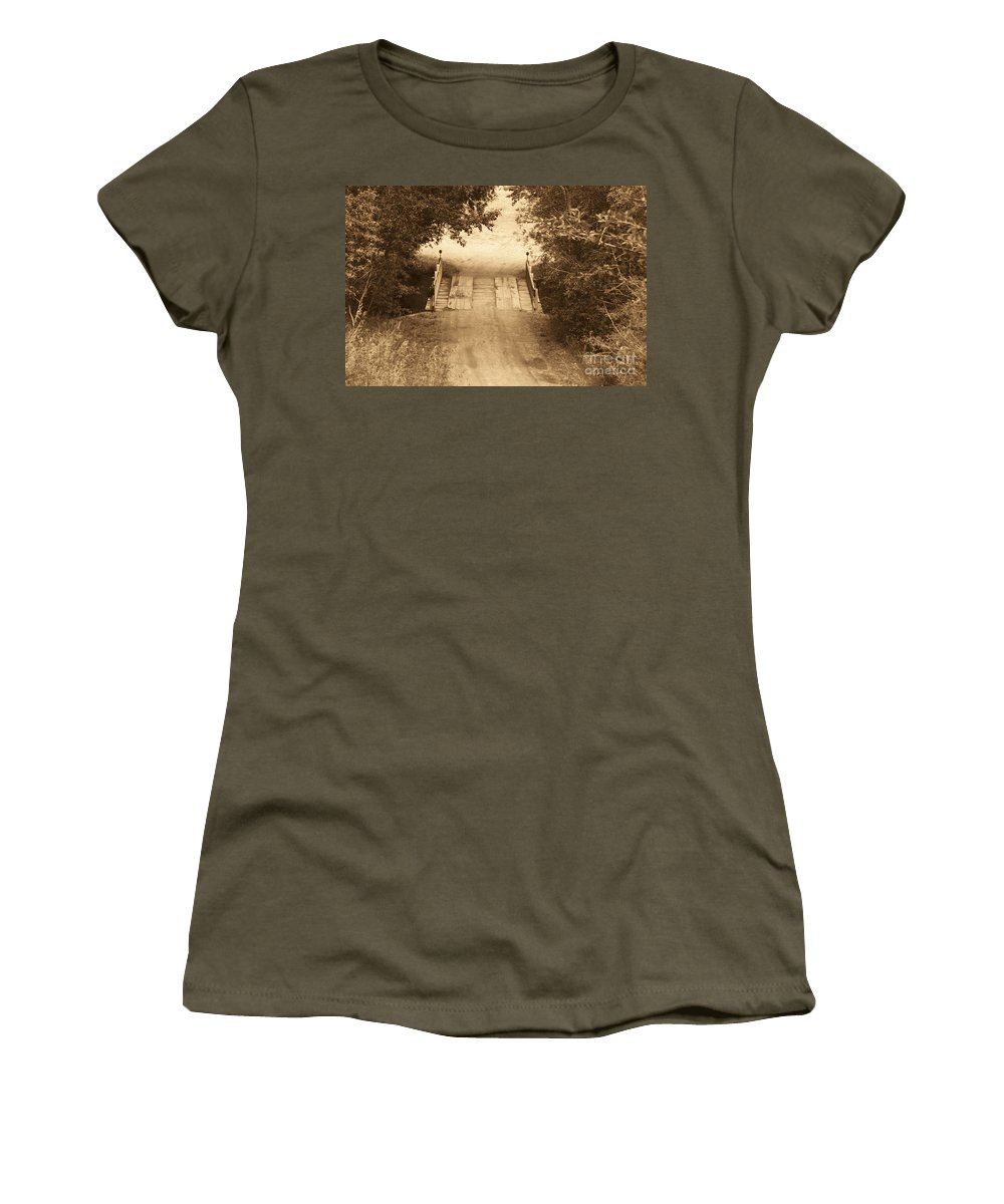 Bridge Women's T-Shirt (Athletic Fit) featuring the photograph Country Bridge by Brandi Maher