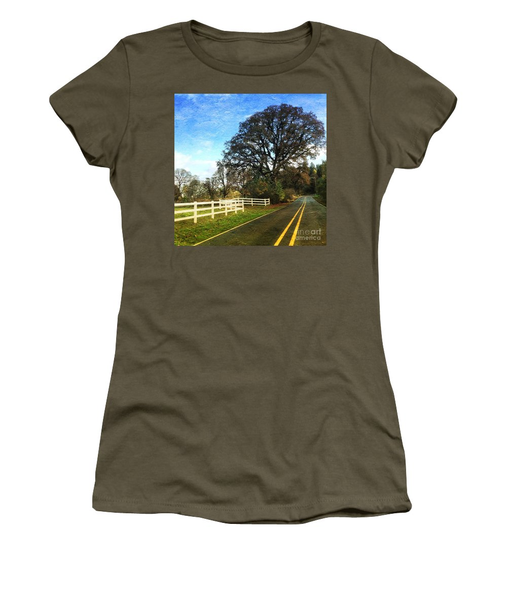 Country Women's T-Shirt (Athletic Fit) featuring the photograph Country Road On Sauvie Island by Charlene Mitchell