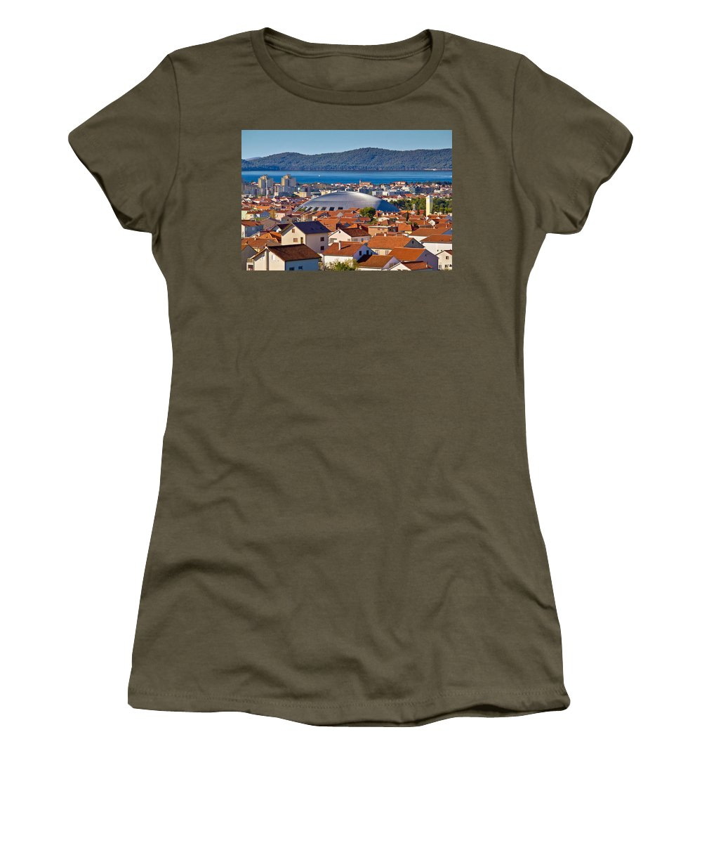 Hall Women's T-Shirt featuring the photograph Coupola Sports Hall Landmark In Zadar by Brch Photography