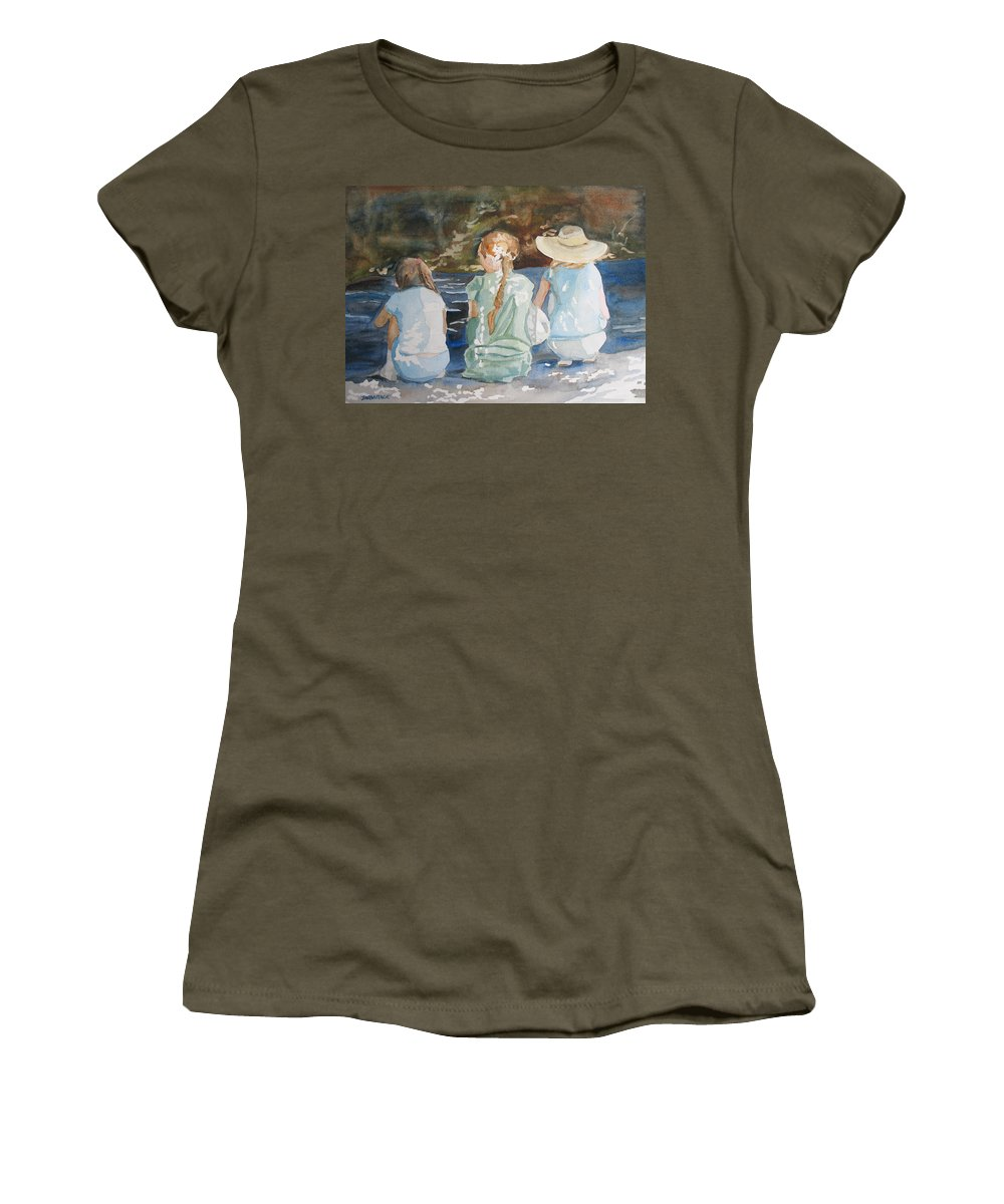 Brook Women's T-Shirt featuring the painting Cousins At The Brook by Jenny Armitage