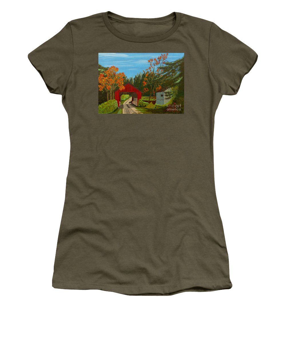 Path Women's T-Shirt (Athletic Fit) featuring the painting Covered Bridge by Anthony Dunphy