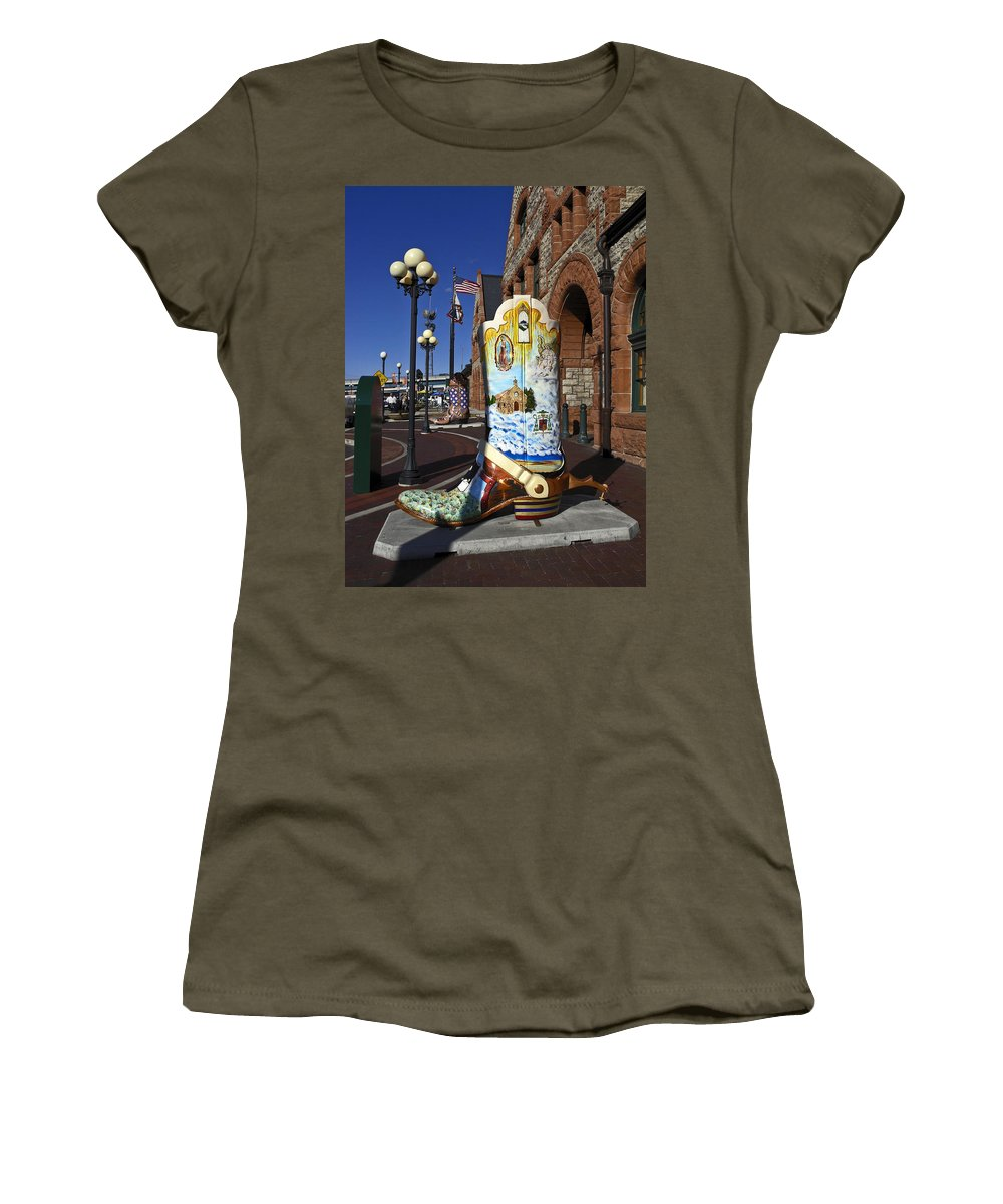 Cheyenne Depot Exterior Women's T-Shirt featuring the photograph Cowboy Boot Decoration by Sally Weigand