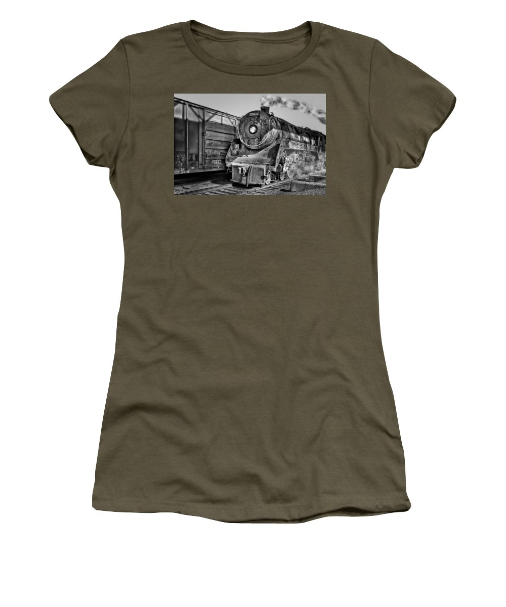 Steam Engine Train Women's T-Shirt featuring the photograph Cpr 2929 Bw by Susan Candelario