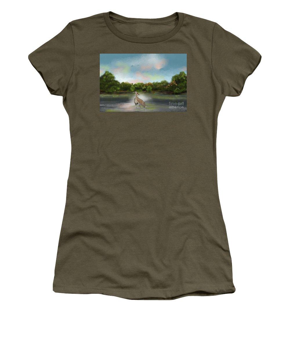 Landscape Women's T-Shirt featuring the painting Crane Habitat by Nancy Long