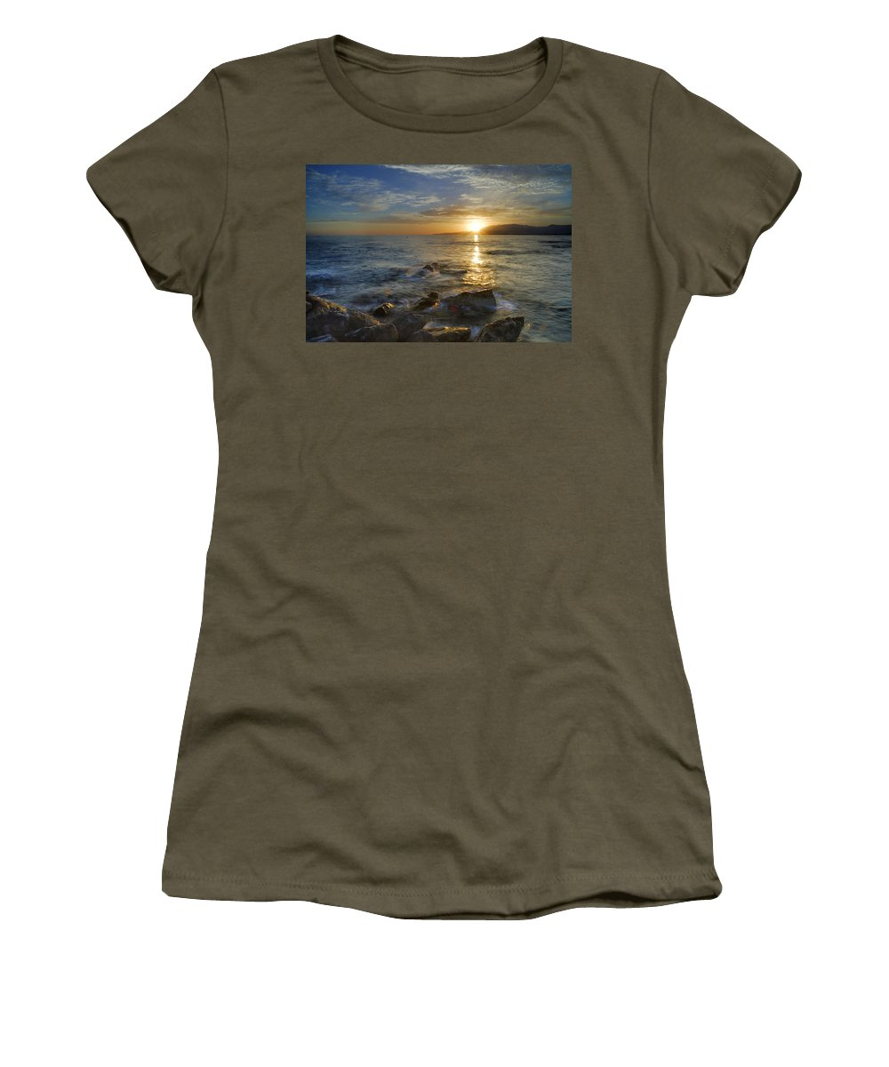 Water Women's T-Shirt featuring the photograph Crepuscular Rays At The Sea by Guido Montanes Castillo