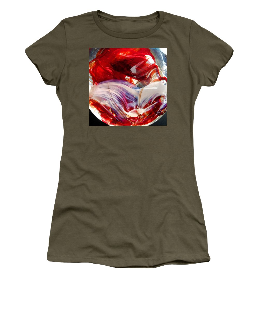 Glass Women's T-Shirt (Athletic Fit) featuring the photograph Crimson Orb by Angela Rath