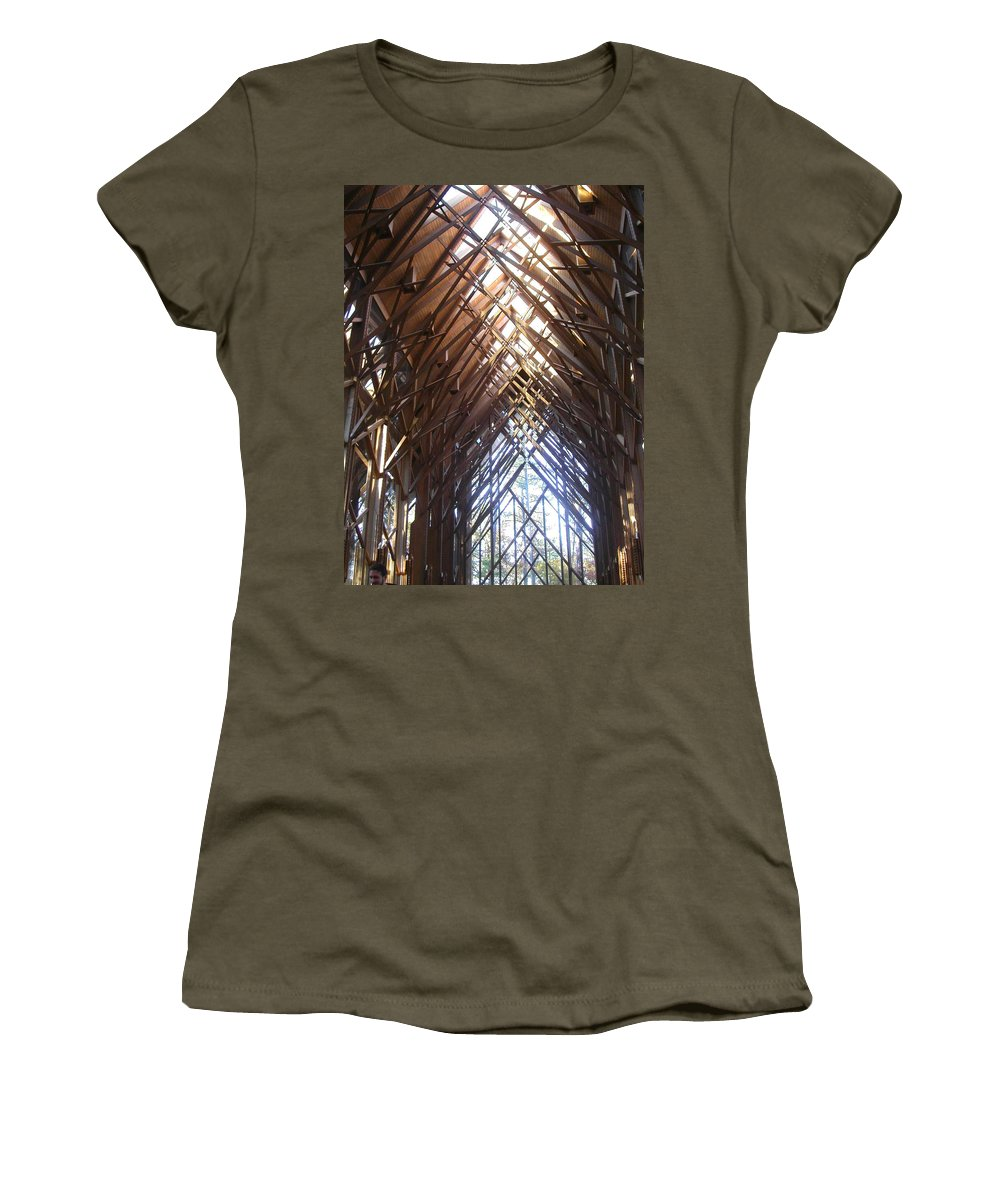Chapel Women's T-Shirt featuring the photograph Criss Cross Chapel by Anne Cameron Cutri