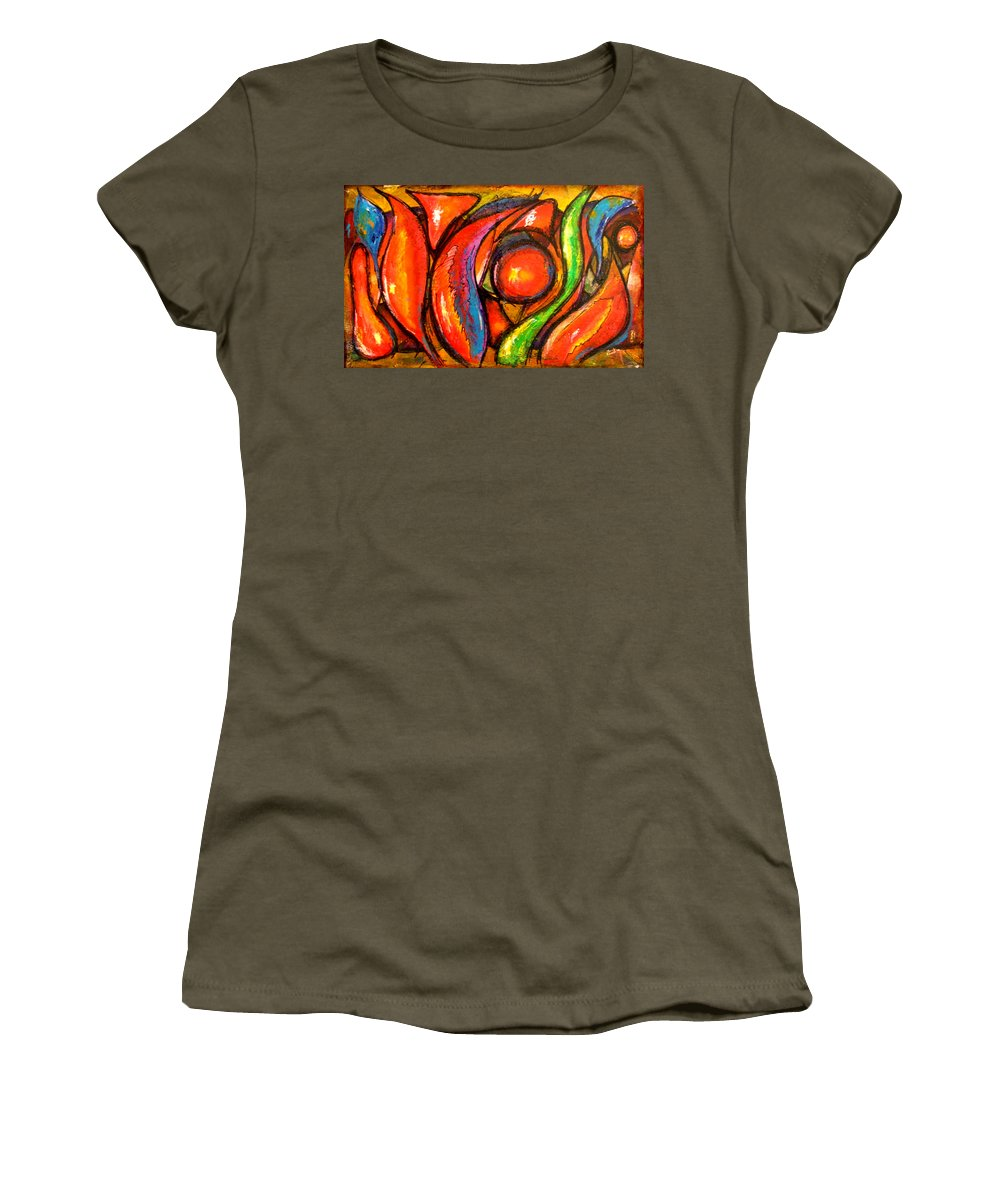 Textured Women's T-Shirt featuring the painting Cromo by Marcello Cicchini