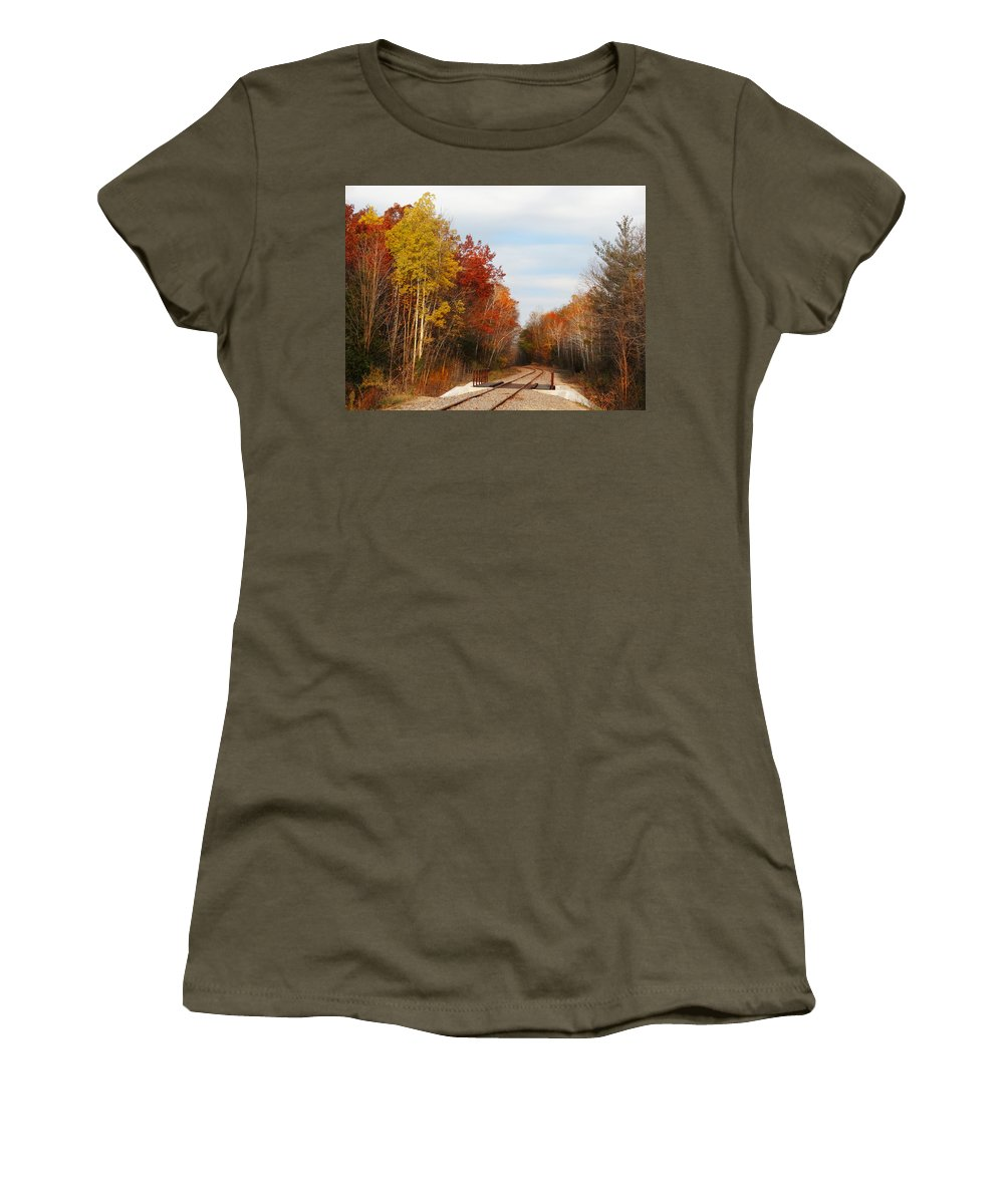 Fall Colors Women's T-Shirt featuring the photograph Crossing Baird Creek by David T Wilkinson