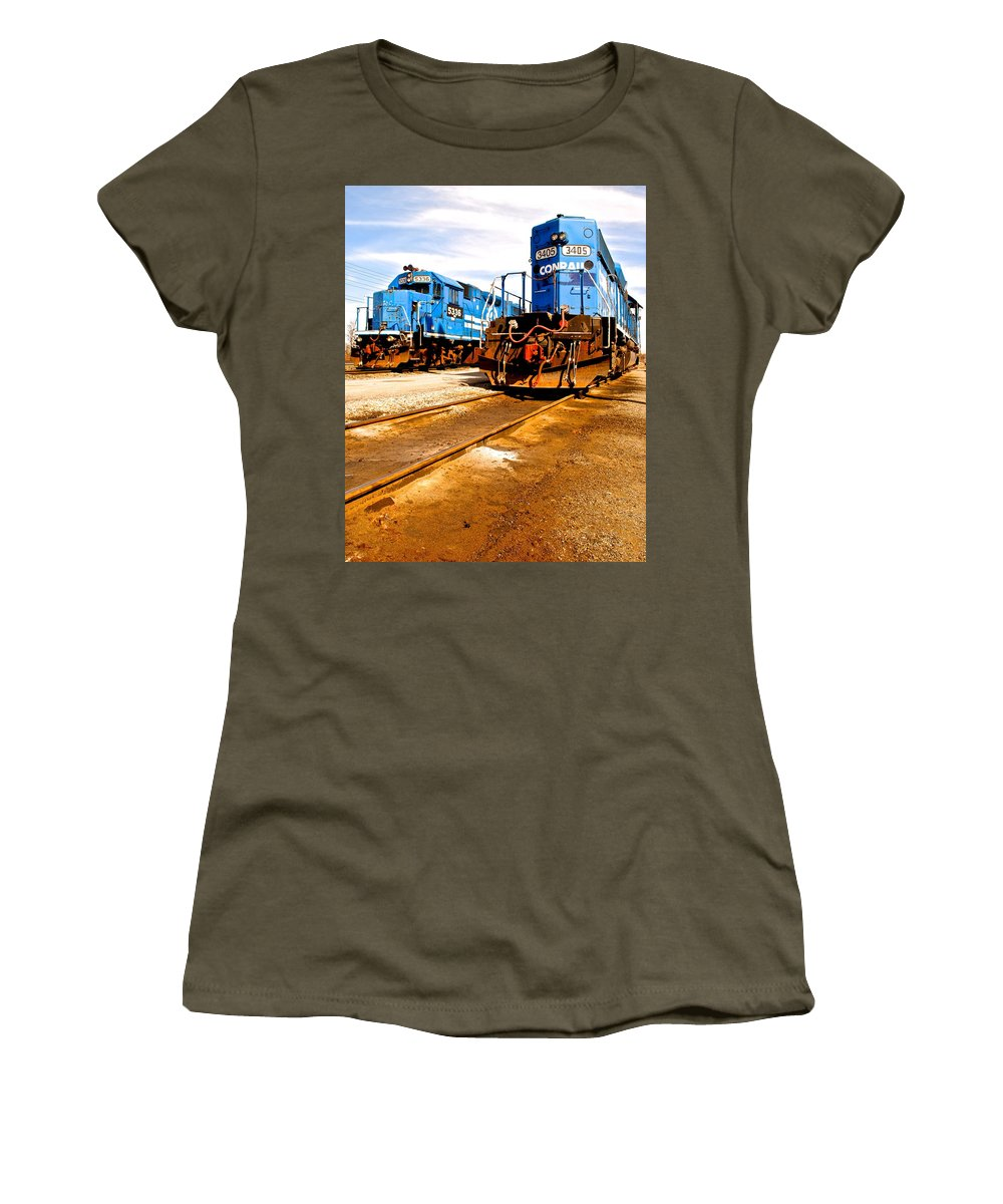Csx Women's T-Shirt (Athletic Fit) featuring the photograph Csx Railroad by Frozen in Time Fine Art Photography