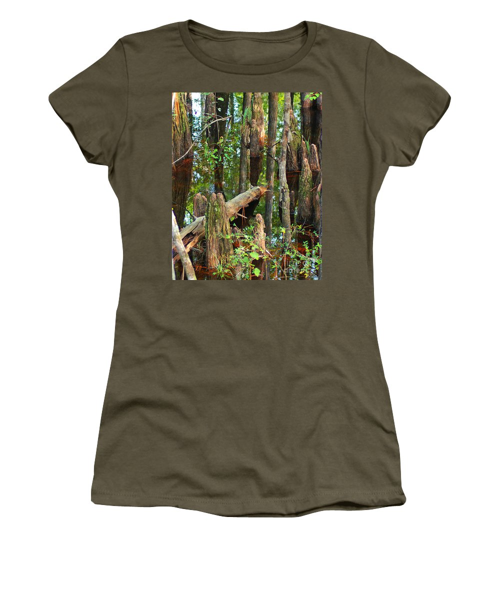 Cypress Women's T-Shirt featuring the photograph Cypress Knees by Nancy L Marshall
