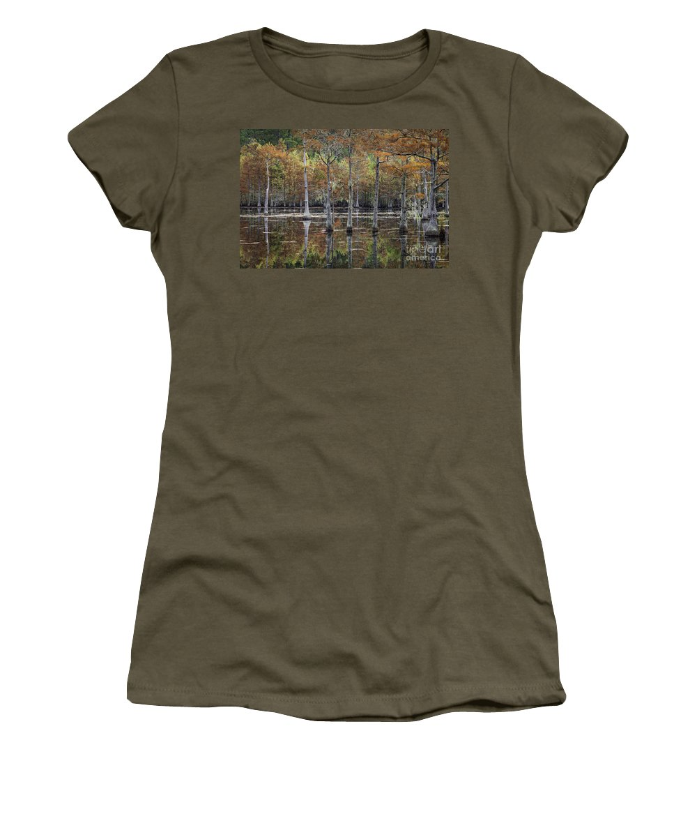 Cypress Trees Women's T-Shirt featuring the photograph Cypress Tree Fall Reflections by Maria Struss