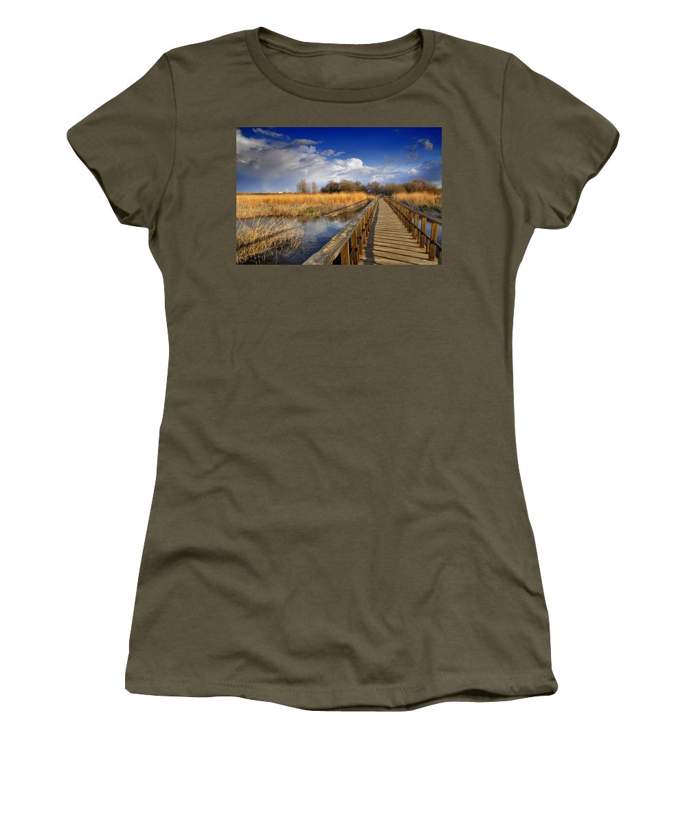Bridge Women's T-Shirt featuring the photograph Daimiel Lake by Guido Montanes Castillo