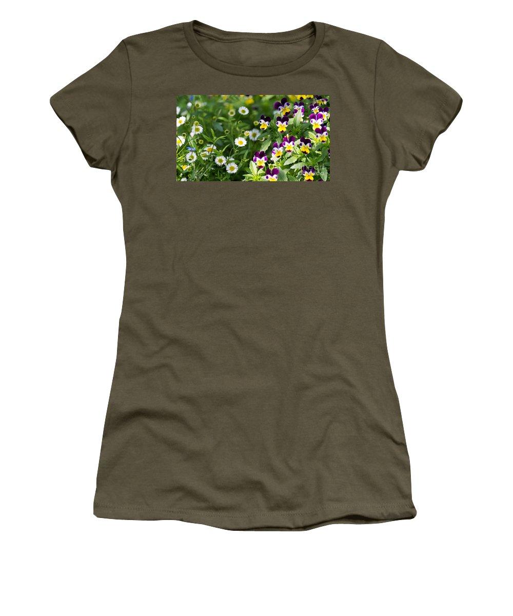 Flower Women's T-Shirt featuring the photograph Daisy And Pansy Mix by Matt Malloy
