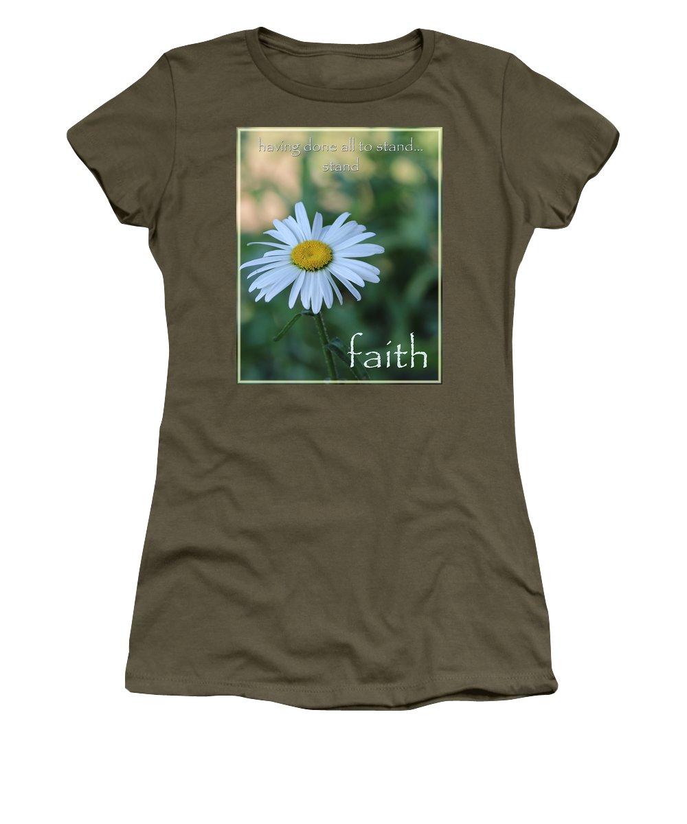 Daisy Women's T-Shirt featuring the photograph Daisy Faith by Karen Beasley