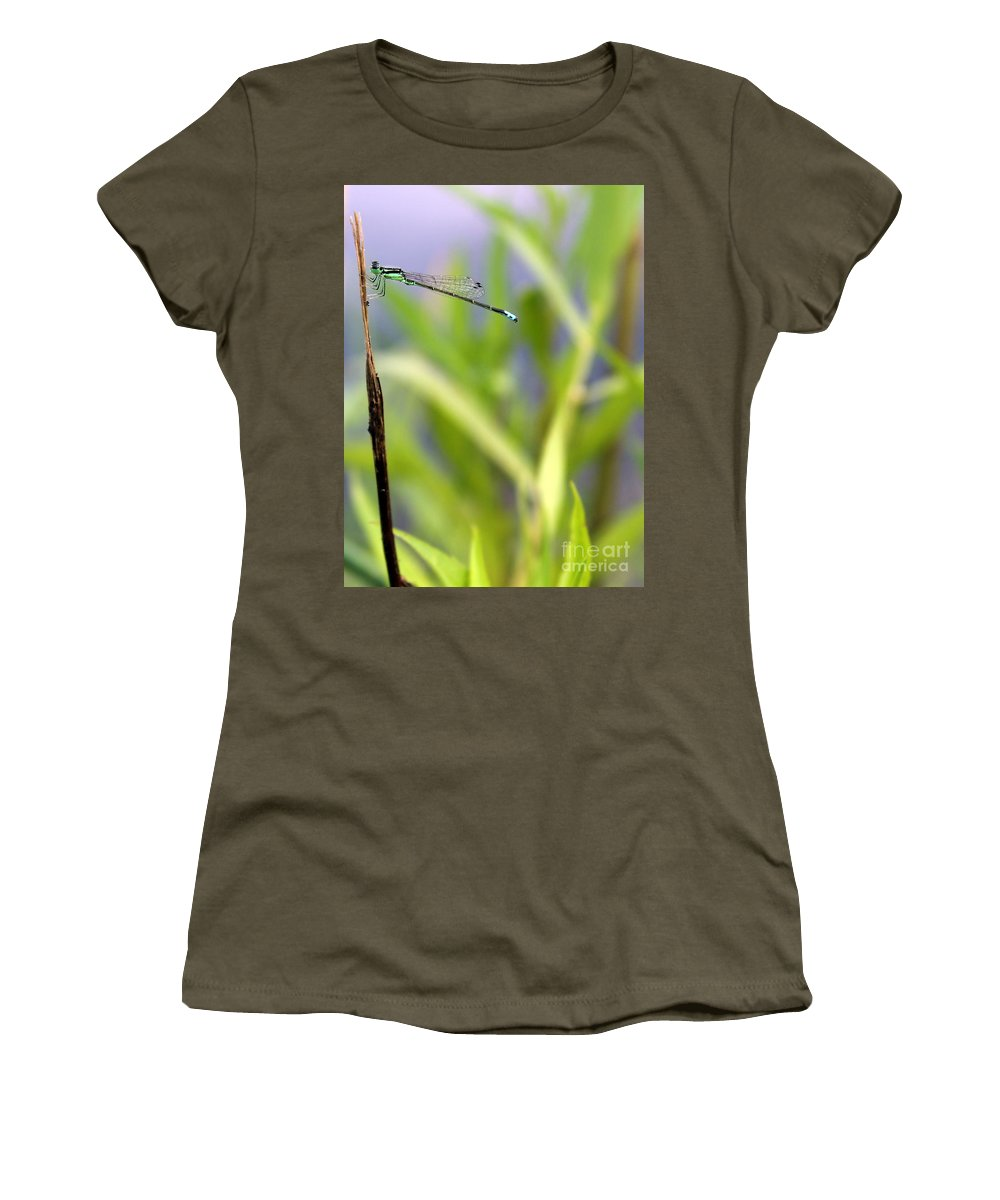 Damselfly Women's T-Shirt (Athletic Fit) featuring the photograph Damselfly Courting by Renee Croushore