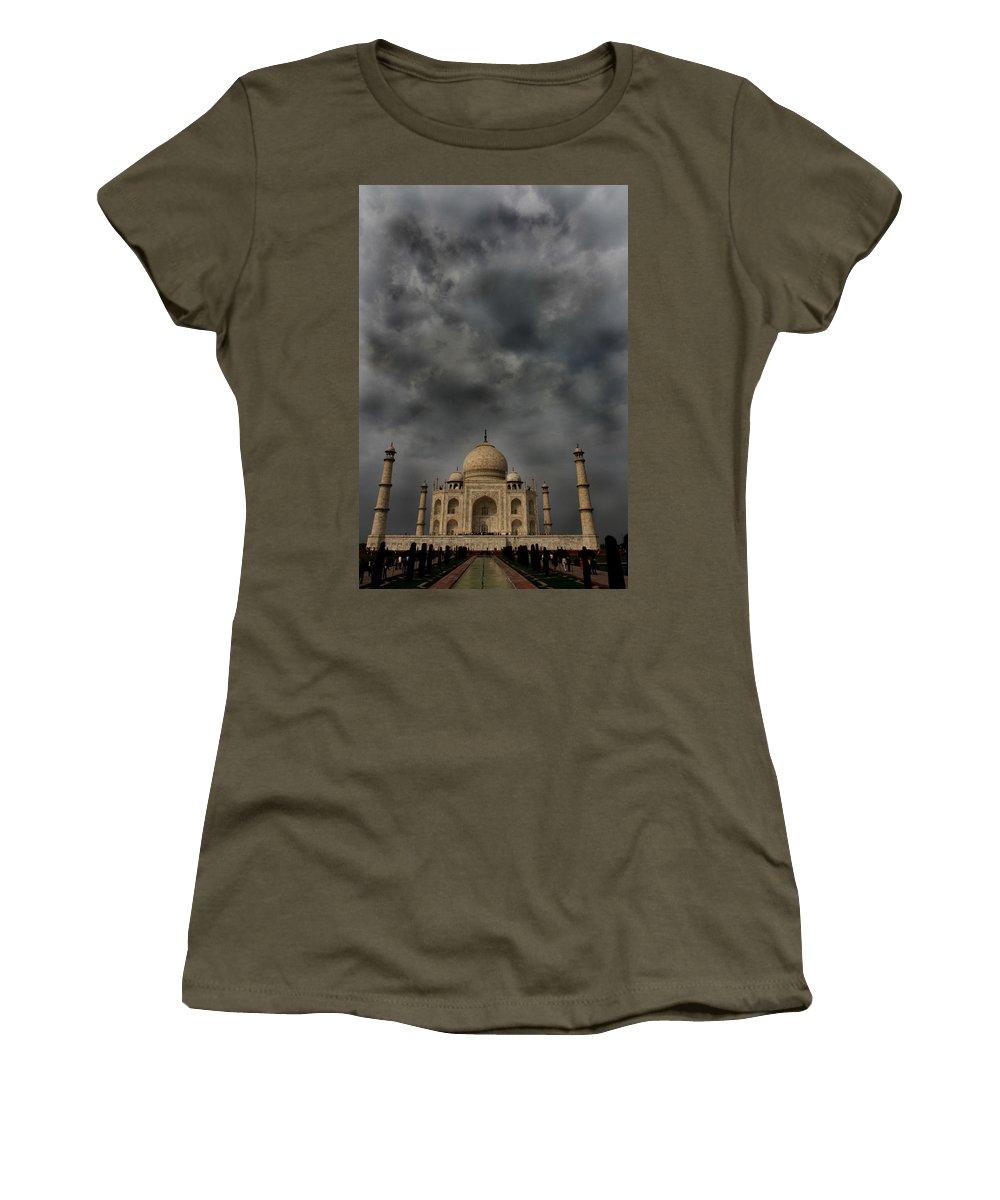Taj Mahal Women's T-Shirt featuring the photograph Dark Clouds Over Taj Mahal by Amanda Stadther