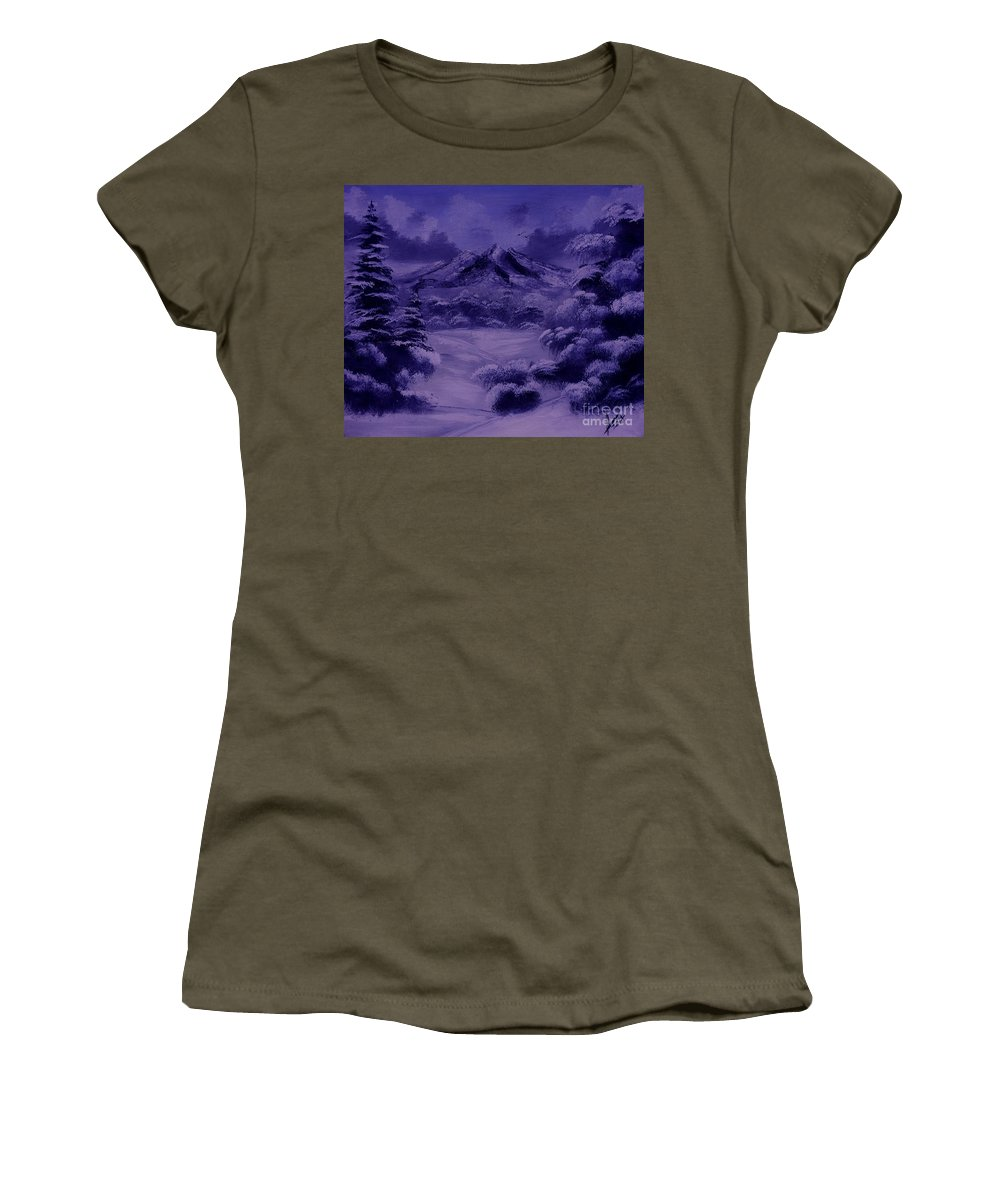 Win Ter Women's T-Shirt featuring the painting Dark Winter by Collin A Clarke