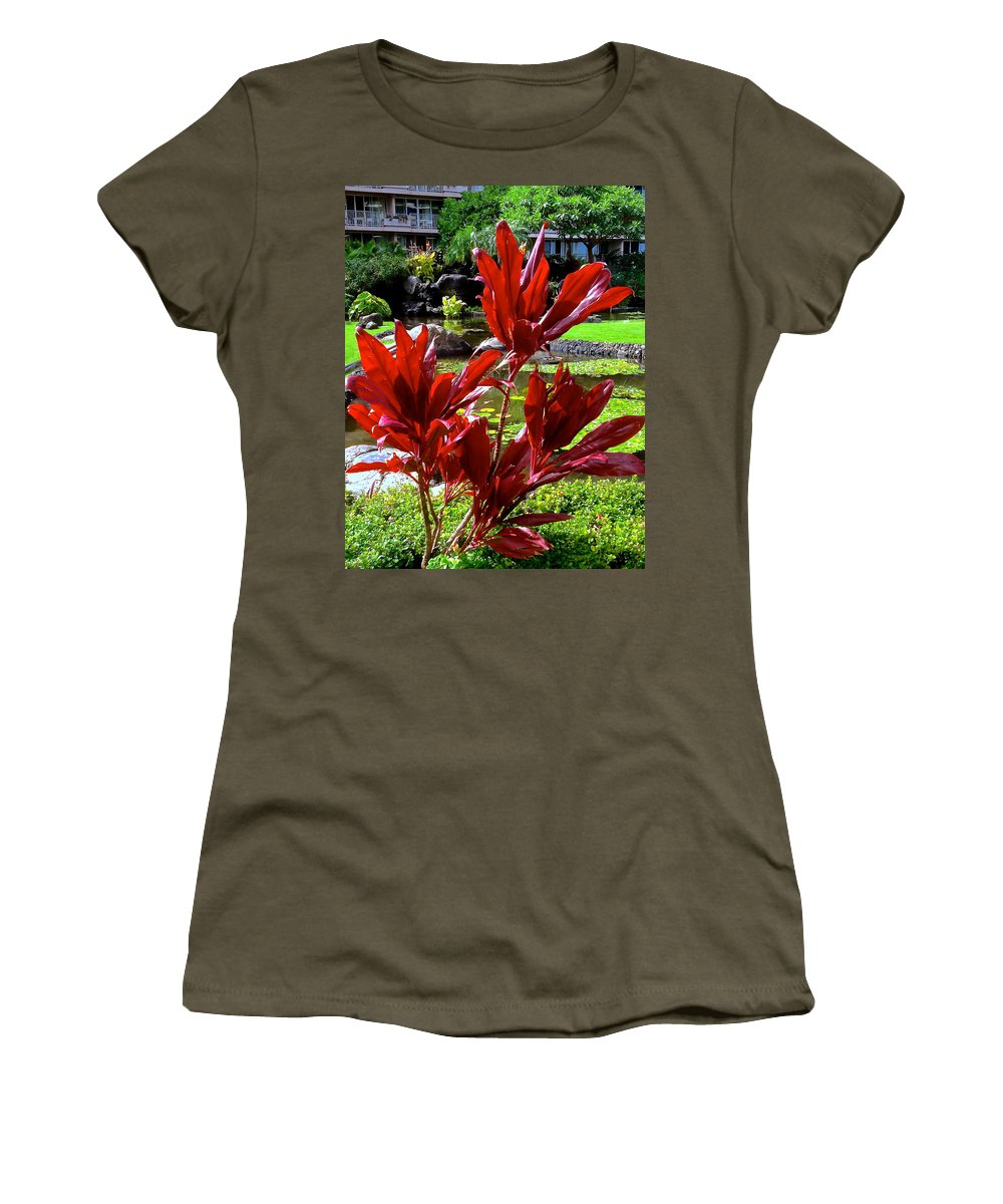 Flowers Women's T-Shirt featuring the photograph Dash Of Red by Jeff Gater