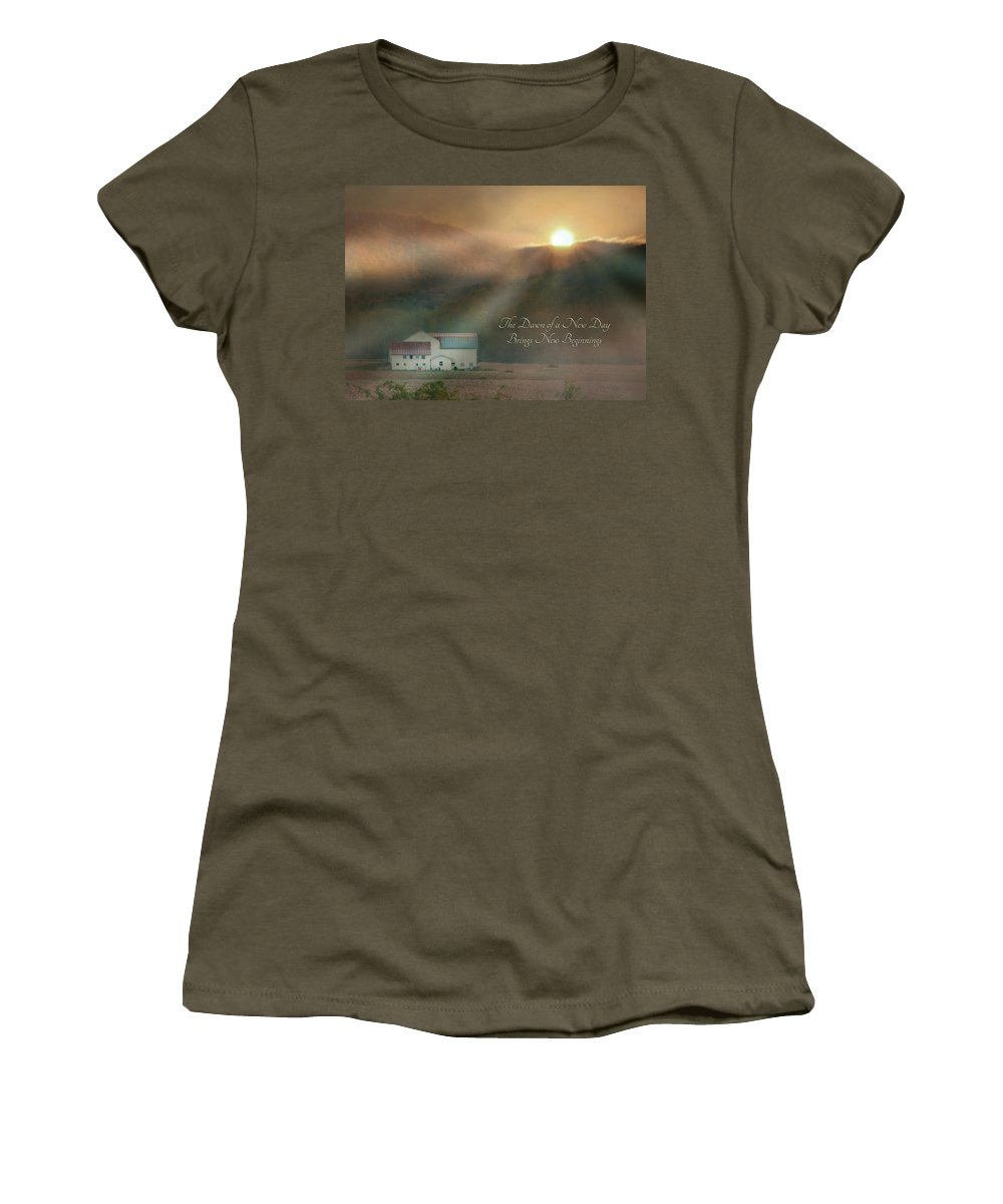 Barn Women's T-Shirt (Athletic Fit) featuring the photograph Dawn by Lori Deiter