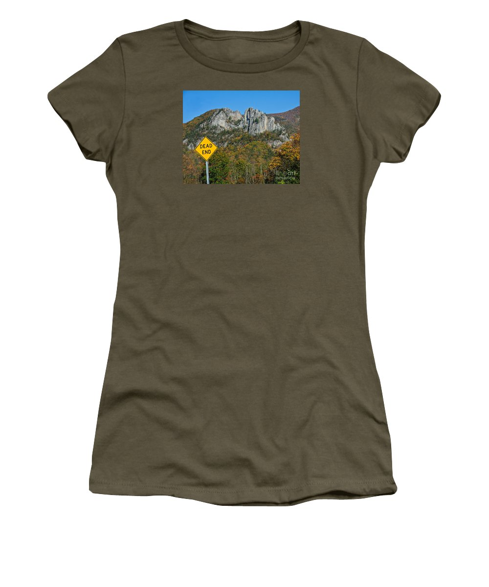Sign Women's T-Shirt featuring the photograph Dead End by Timothy Flanigan