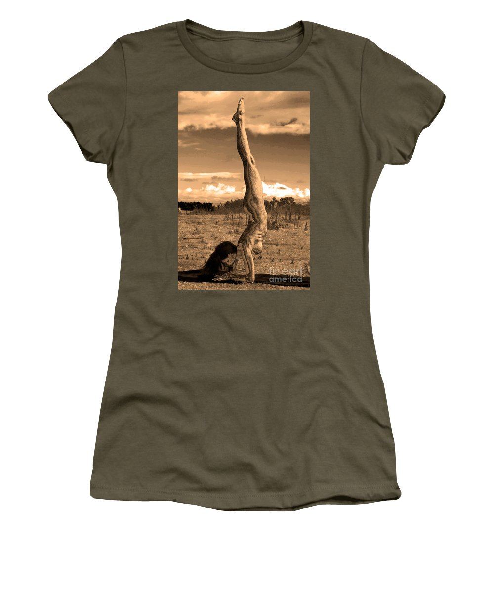Yogi Women's T-Shirt (Athletic Fit) featuring the photograph Death Of A Yogi by Deprise Brescia