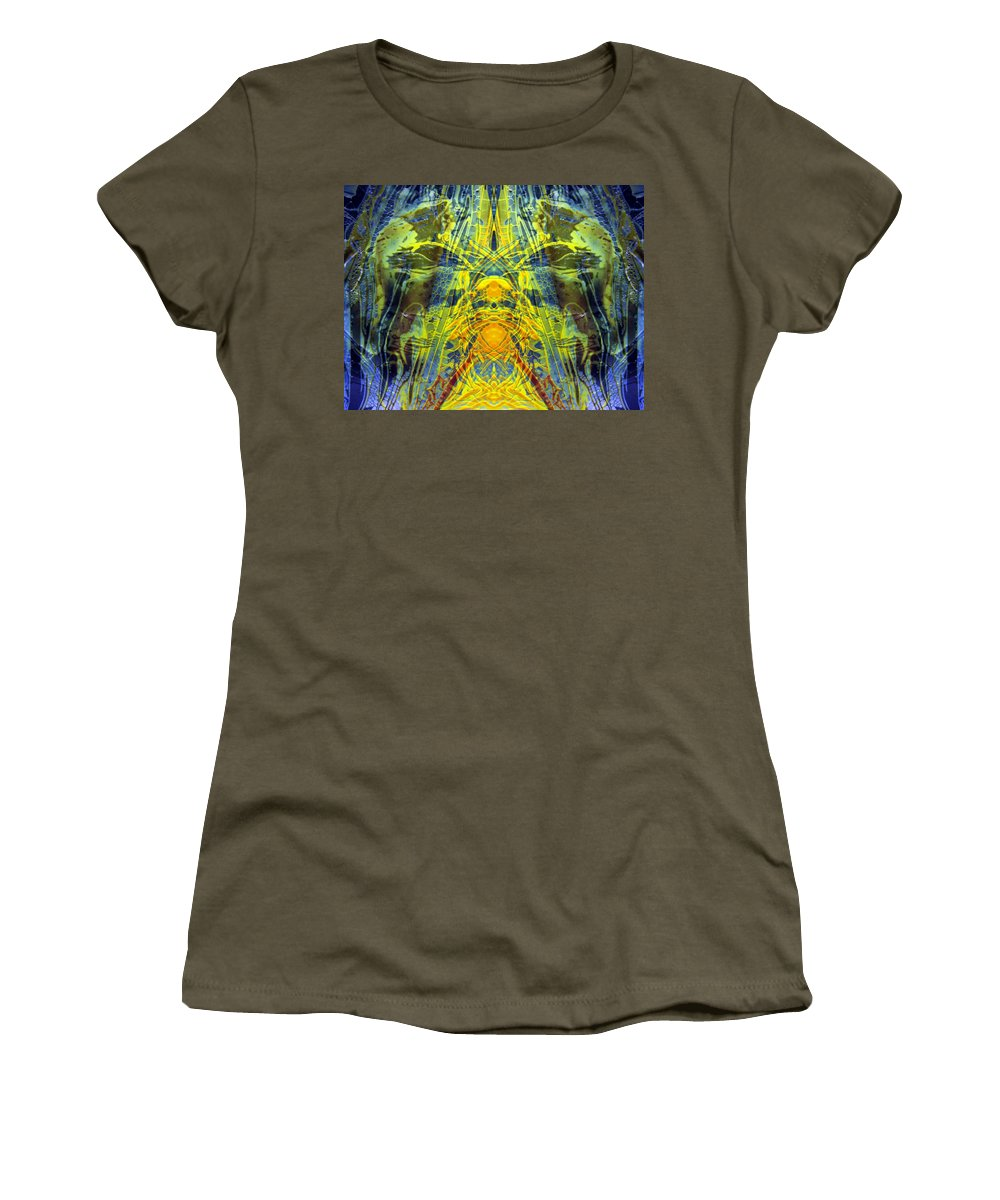 Surrealism Women's T-Shirt (Athletic Fit) featuring the digital art Decalcomaniac Intersection 1 by Otto Rapp
