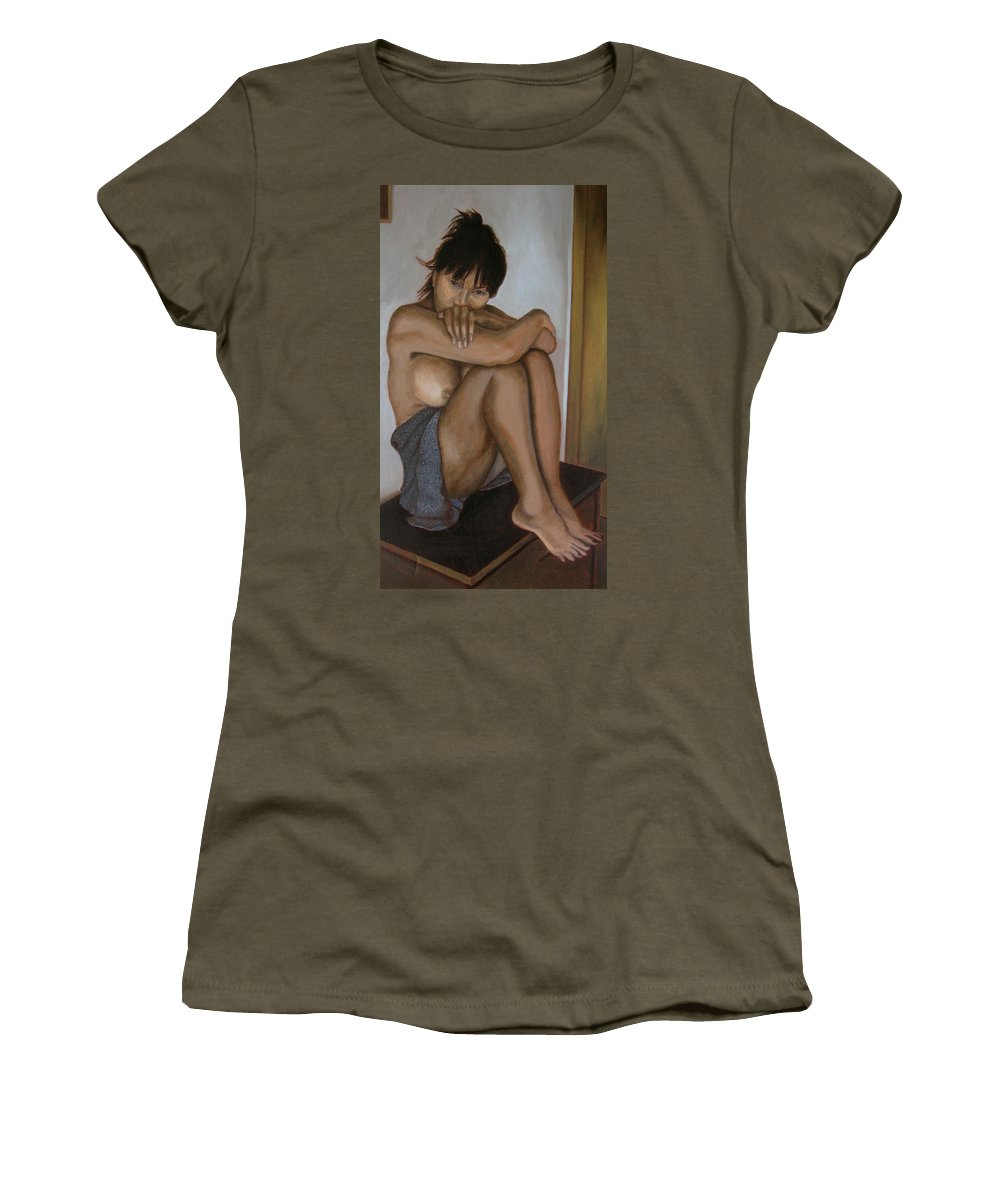 Figure Women's T-Shirt featuring the painting Deep In Thought by Thu Nguyen