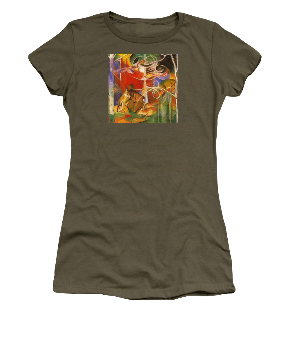Franz Women's T-Shirt featuring the painting Deer In The Forest 1913 by Franz Marc