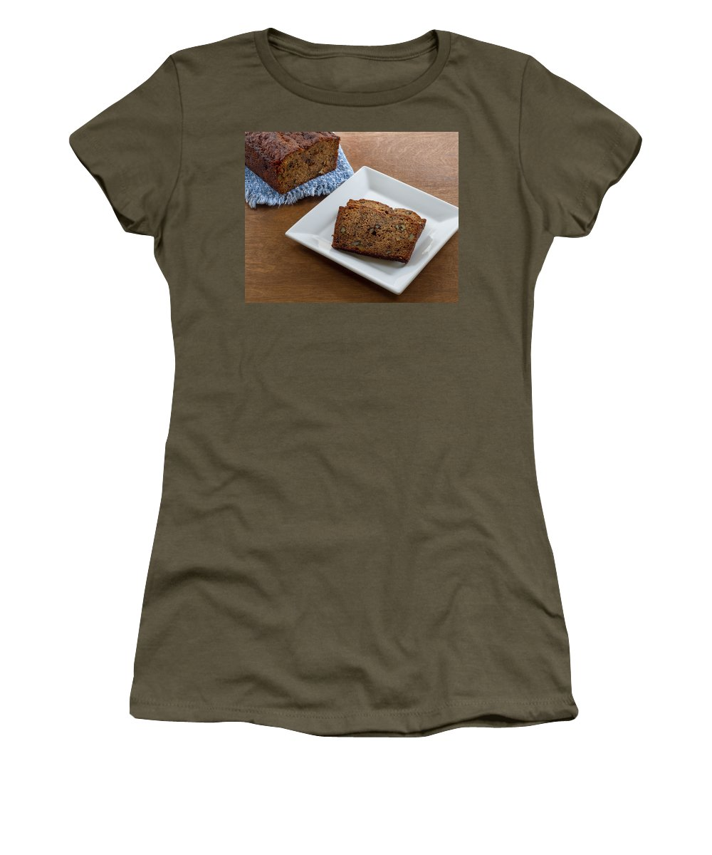 Banana Bread Women's T-Shirt (Athletic Fit) featuring the photograph Delicious Banana Bread by Kim Hojnacki
