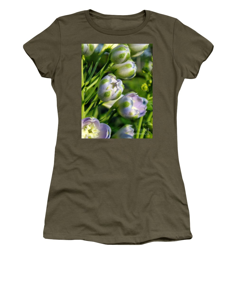 Women's T-Shirt featuring the photograph Delphinium Buds Blooming by Renee Croushore