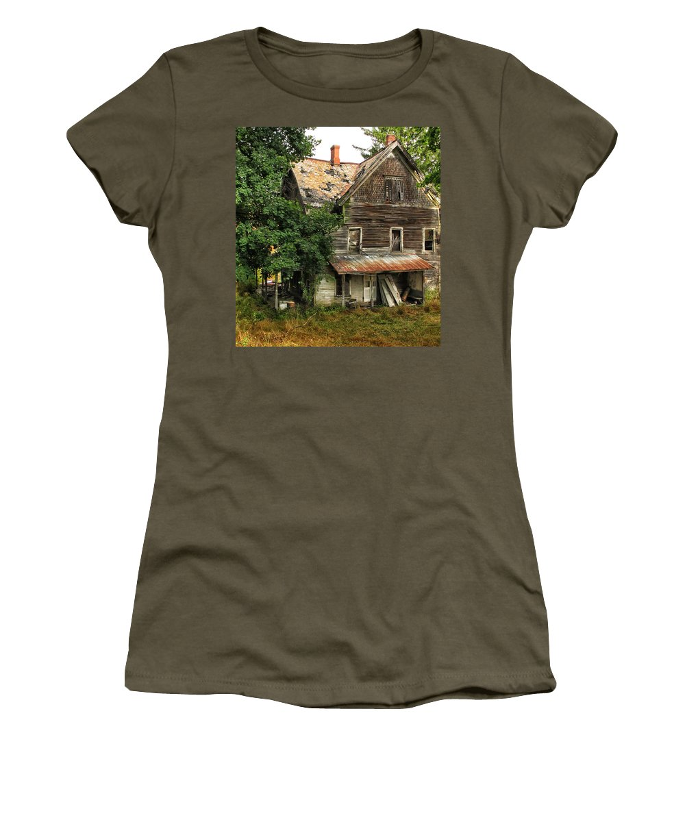 Home Women's T-Shirt featuring the photograph Deserted Along Time Ago by Dave Mills