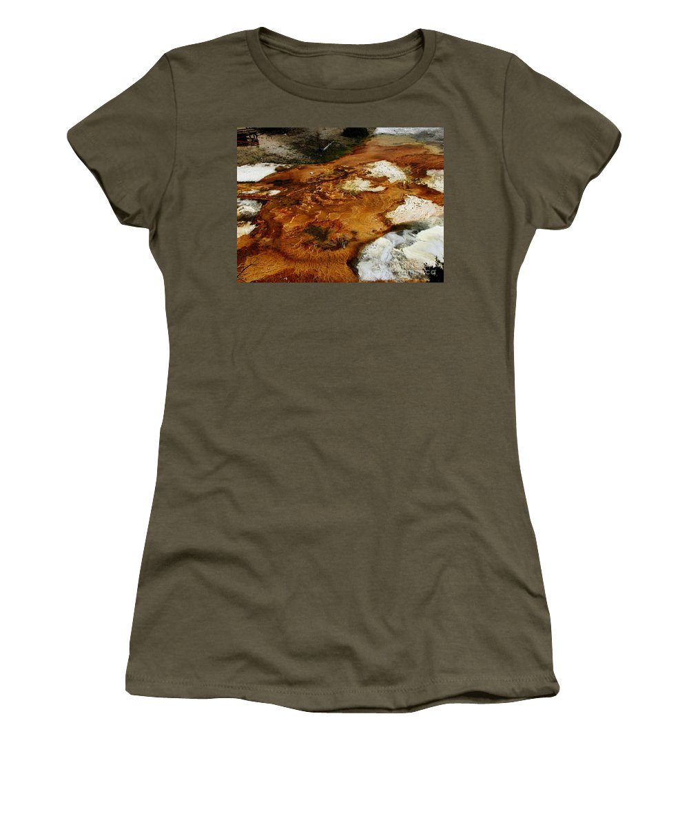 Landscape Women's T-Shirt featuring the photograph Detail Mammoth Springs Yellowstone by Ron Tackett