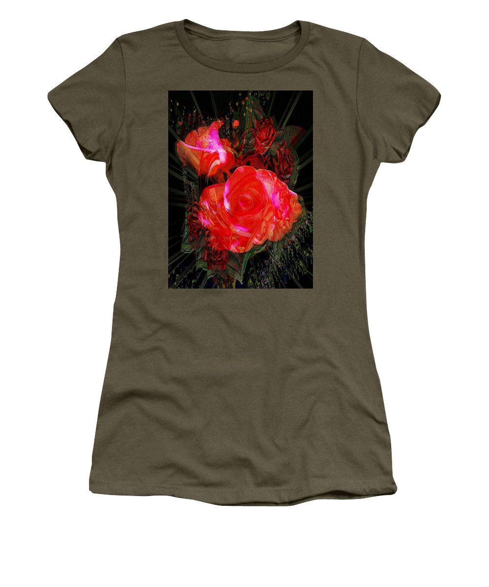 Detailed Roses Women's T-Shirt featuring the digital art Detailed Roses by Catherine Lott