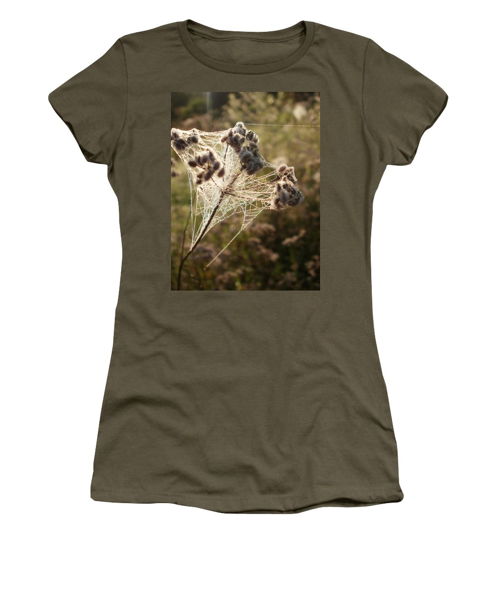 Spider Women's T-Shirt featuring the photograph Dewdrops On A Web by Desiree Holloway