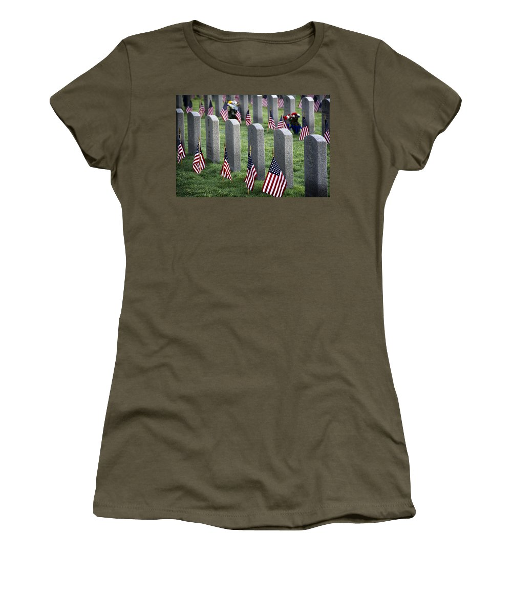 Joan Carroll Women's T-Shirt featuring the photograph Dfw National Cemetery by Joan Carroll