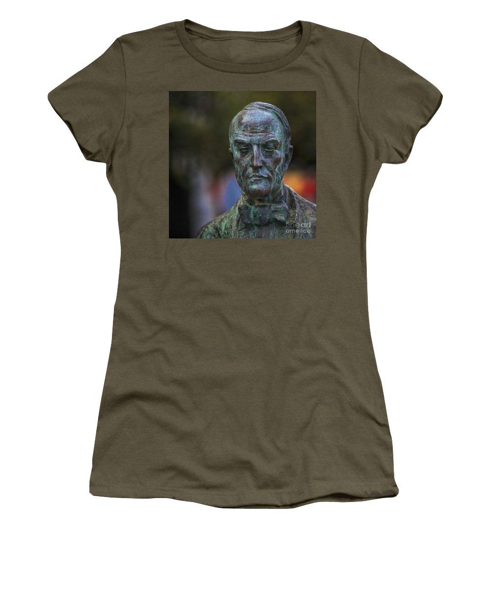 Statue Women's T-Shirt (Athletic Fit) featuring the photograph Diego Fernando Montanes Alvarez Statue Cadiz Spain by Pablo Avanzini