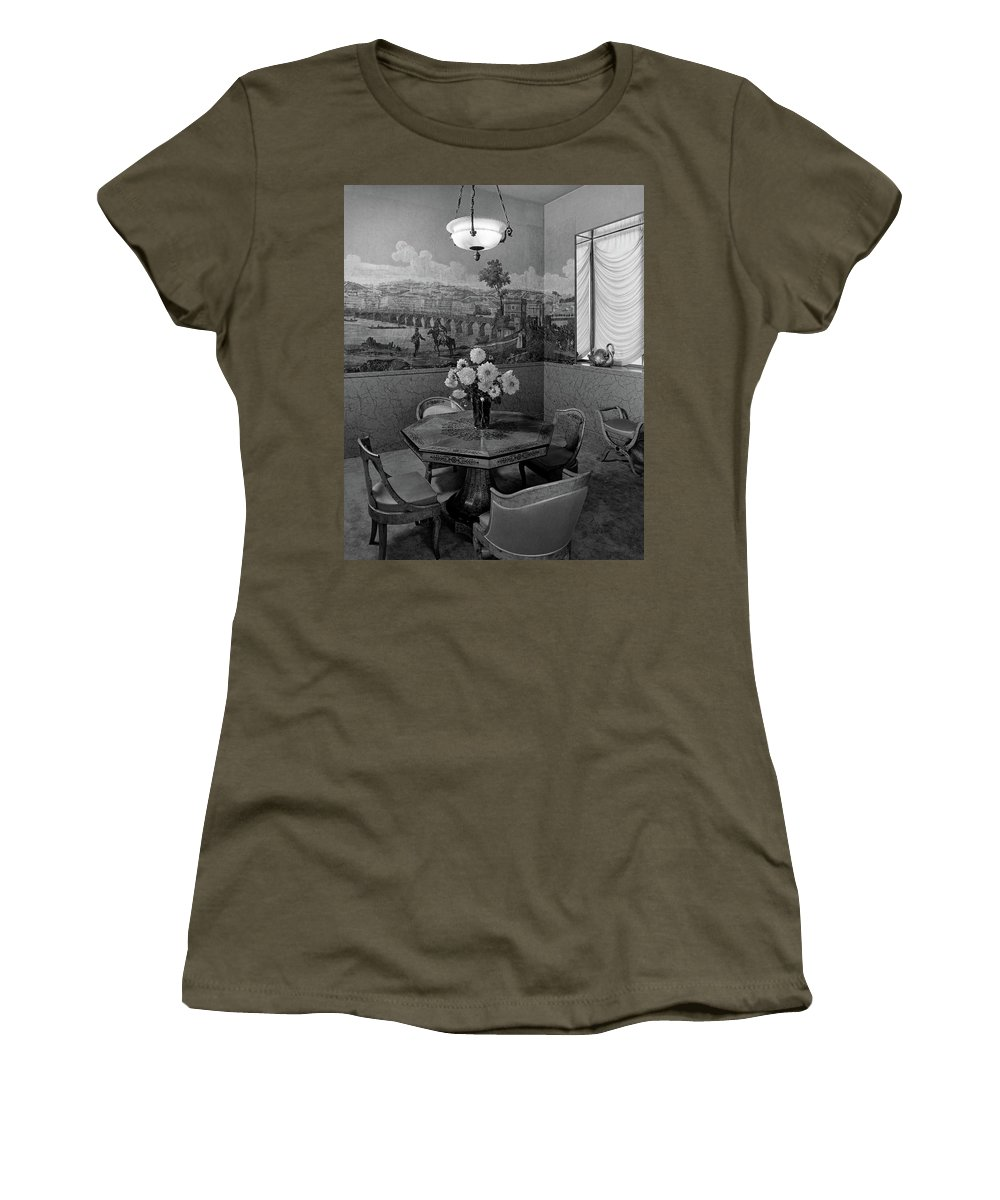 Architecture Women's T-Shirt featuring the photograph Dining Room In Helena Rubinstein's Home by F. S. Lincoln
