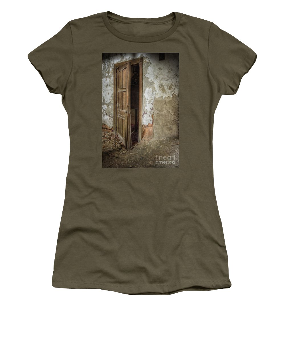 Door Women's T-Shirt featuring the photograph Dirty Door by Margie Hurwich