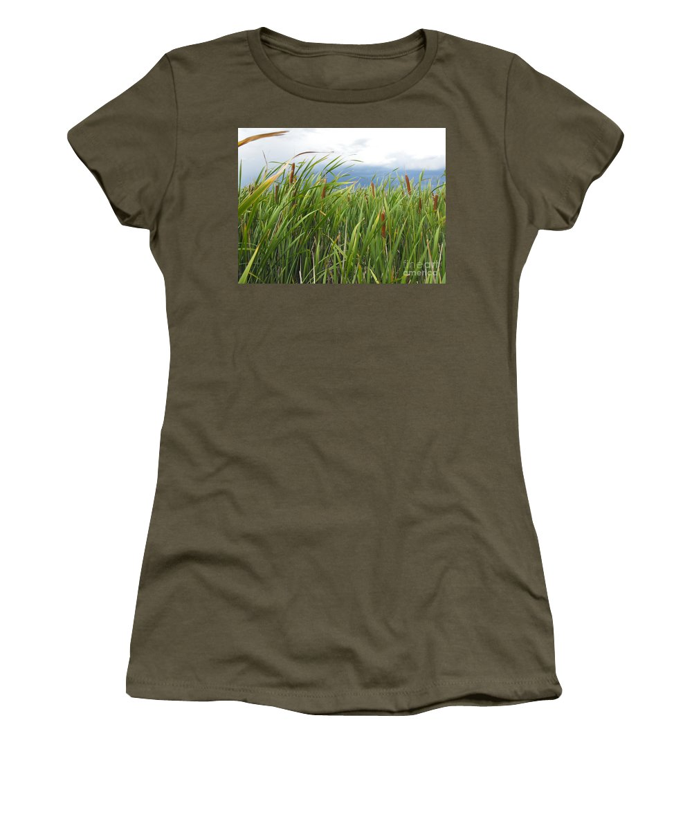 Cattails Women's T-Shirt (Athletic Fit) featuring the photograph Dobie Swamp Tails by Brandi Maher